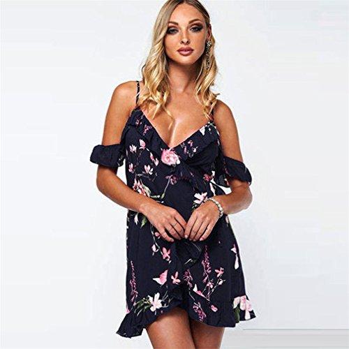 Vovotrade Frauen Blumen Rüsche Kleid weg vom Schulter Minikleid Strand Partei Kleid Dunkblau