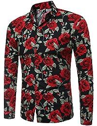 Huicai Hombres Manga Larga Camisa de Flores Moda Botón Camisa Imprimir Patrón
