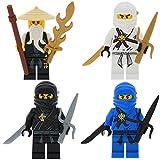Ninjago Lego 4er Figurenset Ultimate 10 - Die Klassiker von 2011 - Zane Cole Jay Sensei Wu mit 8 Waffen Schwerter