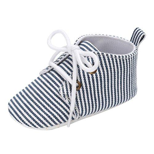 Brightup Gestreifte Baby Soft Schuhe mit Schnürsenkel, Baby Junge Mädchen First Walking Schuhe Blau