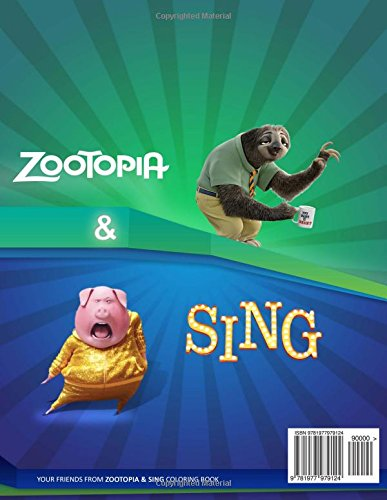 Zootopia and Sing coloring book: Coloring pages on Zootopia and Sing animation movies