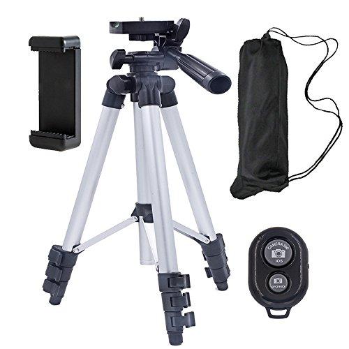 Zetong Kamera Handy Stativ Dreibein-Stativ Leichtes Stativ mit 3-Wege-Kopf bis zu 2 kg Traglast, inkl. Stativkopf und Schnellwechselplatte - Schwarz