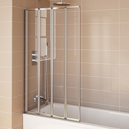 Pivot folding bath shower glass screen reversible door for Glass shower doors for baths