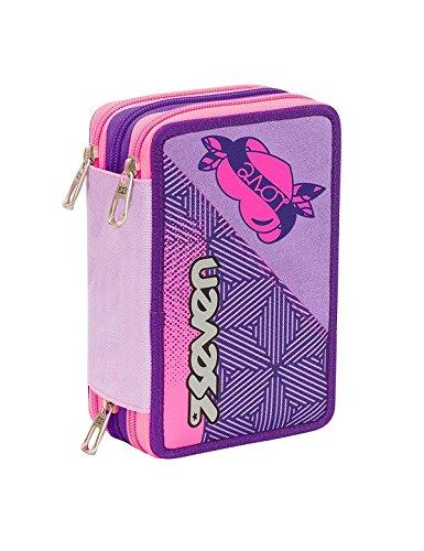Astuccio 3 zip scuola completo seven rebel girl bambina colori viola e rosa