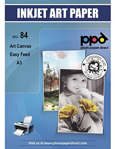 PPD DIN A3 Inkjet bedruckbares 320 g/m2 Canvas Fotopapier Weiß Matt Zur Reproduktion Von Kunstdrucken - Tolle Optik Durch 100% Baumwoll-Basis Und Spezialbeschichtung, DIN A3 x 10 Blatt PPD084-10