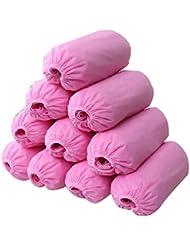 logei® 100 pièces surchaussures jetables Pardessus couvre-chaussures,jetables Non-tissés, rose