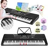 Keyboard Lern-Keyboard 61 Tasten Leuchttasten Anschlagdynamik Aufnahme-Funktion Playback-Funktion AUX USB-MIDI MP3 50 Demo-Songs 32 Speicherplätze schwarz