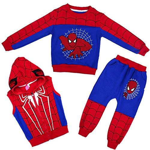 3D Halloween Thema Amazing Spider-Man Kinder Hoodie Marvel Comics Jungen Und Mädchen Pullover Dreiteilige Set,Blue-120cm