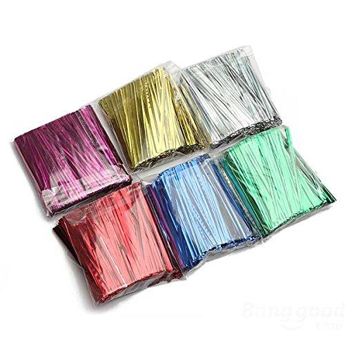 mark8shop 800pcs Metallic Twist Tie Draht für Pack Candy Lollipop Kuchen Cello Tasche
