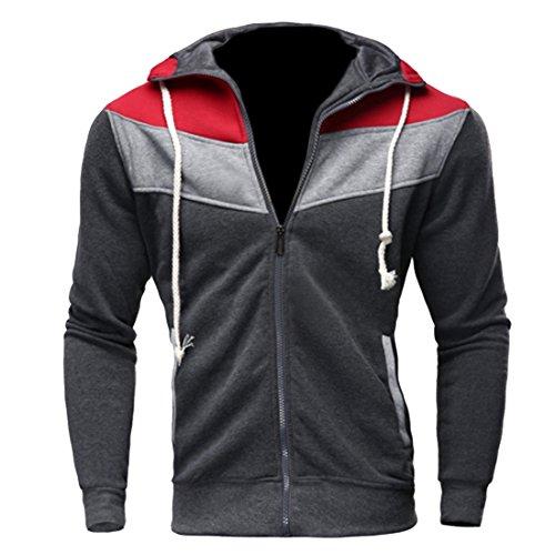 Partiss Casual Veste à capuche pour homme Darkgrey+red