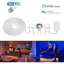 Wifi Smart LED striscia luce Funziona con Amazon Alexa e Google Home, impermeabile luce di striscia flessibile 2m/6.6ft 120leds RGB, con App, controllo touch panel, Timer, controllo musica vocale