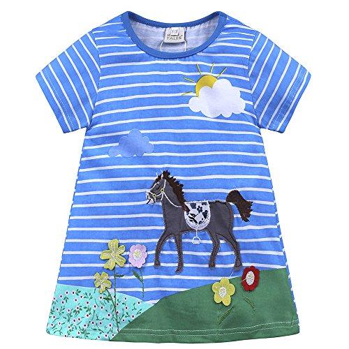 Baby Mädchen Prinzessin Kleid Mädchen Jerseykleid mit Streifen Crewneck Kleid (4 Jahre, Blau - Pferd) (Halloween-der Einzige Tag Im Jahr)