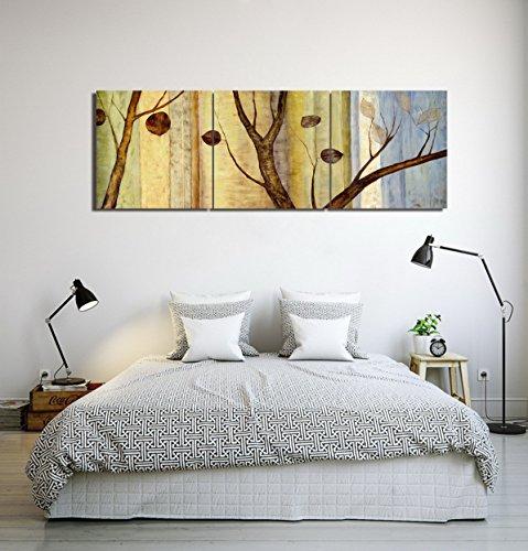 LB Vintage Herbst Bäume Hintergrund Ölgemälde Druck auf Leinwand Wand Kunst Dekoration,Mit Rahmen,40cm×40cm,3 Stück (Eigentumswohnung Baum, Haus,)