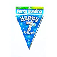 Happy 7th Birthday Flag Bunting Age Boys Blue Pennant Banner Party Decorations