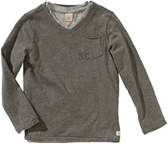 Scotch & Soda Shrunk Jungen Pullover 13440650500 basic double layer v-neck tee  Gr. 116  (6), Grau (930 - cement melange )