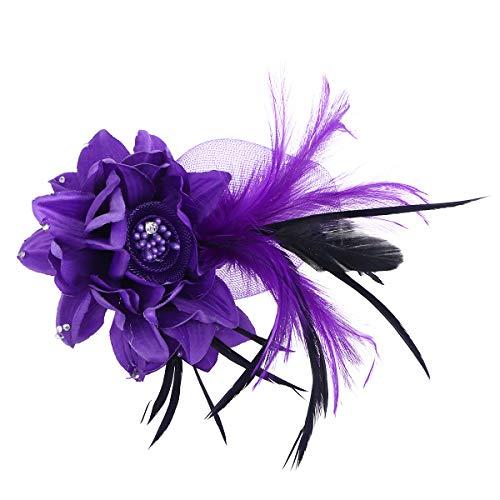 Lurrose Blume Feder Brosche Pins Corsage Brosche Breastpin Handmade Blume Haarspangen Haarnadeln Kopfbedeckung für Frauen Mädchen (Lila)