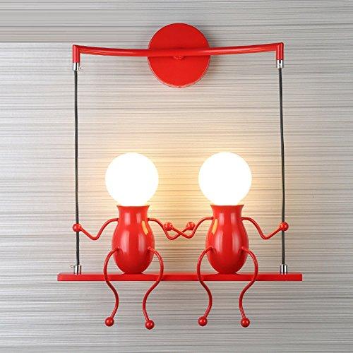 Kreativ Leuchtmittel Dekoration Kinder,Moderne Schöne Minimalismus Indoor 110-120v E27 Birne sockel Wand lampen Kopfteil Wandleuchte-Rot 120v-licht-schalter
