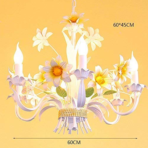 OYL Modern Daisy Flower Chandelier, Lustre House Retro Flower Shop Clothing Store the Art Chandelier Iron Chandeliers, Mall 6 Heads E14, String Length Adjustable 44Cm 60*60*45Cm Fashion.Z,60 * 45 cm, -