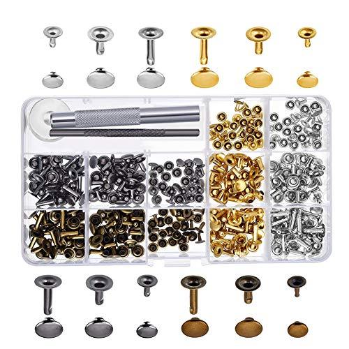 FABSELLER Nietenset aus reinem Kupfer, 6 mm, 8 mm, 12 mm, 4-farbig, doppelseitig, inkl. Montage-Kit für Lederarbeiten und Weidennägel 180 Sets