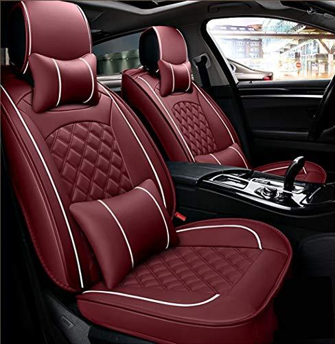 Ededi Leder Sitzbezüge-Set, Universal Gitter Autositzbezüge Set Voll Auto Vorderseite und Rückseite, 9-Teiliges Set (Farbe : Red)
