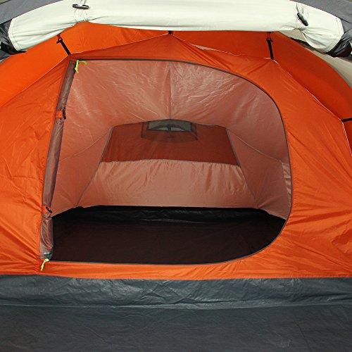 10T Mandiga 3 Orange - Tunnelzelt für 3 Personen, Campingzelt mit großer Schlafkabine, wasserdichtes Familienzelt mit 5000mm, Zelt mit 2 Eingängen und 2 Fenstern, Festivalzelt mit Dauerbelüftung, 3 Mann Zelt mit Tragetasche, Zeltheringe und Zeltgestänge - 18