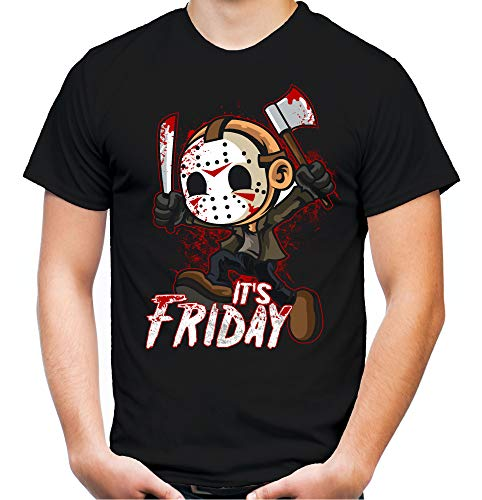 It's Friday Männer und Herren T-Shirt | Freitag der 13 Halloween Horror ||| (L, Schwarz)