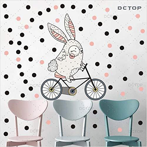 Wandaufkleber Schöne cartoon kaninchen fahrt auf fahrrad dekoration dot farbe wandaufkleber kunst tapete diy tür hintergrund kinderzimmer wohnkultur -