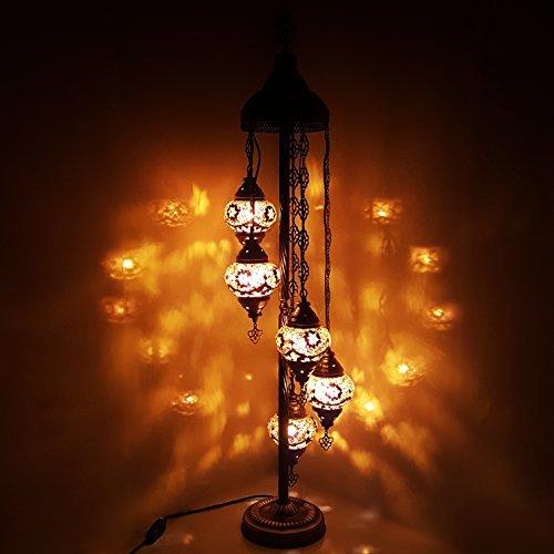 Turkish Moroccan Tiffany Style Glass Mosaic Floor Lamp Night Light - G5 X 5 Bulb Floor Lamp