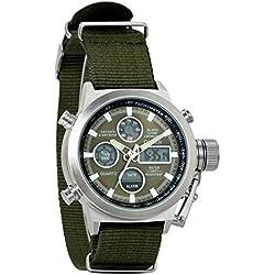 Montre Homme Avaner Montre Bracelet Quartz Electronique --Double Affichage Analogique et Digital --Bracelet en Silicone Sport Extérieur Chronomètre Bracelet Montre Homme Vert