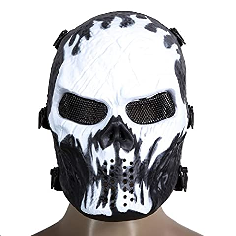 Togather® Airsoft Skull Face Mask, Full Face Protective Tactical Gear for Paintball Outdoor Cs War Game BB Gun Cool Scary Ghost Halloween Party