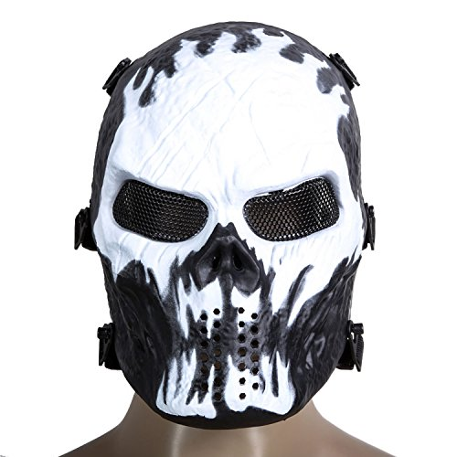 Togather® Airsoft Schädel-Gesichtsmaske, volles Gesichts-schützender taktischer Gang für Paintball-im Freienkern-Kriegs-Spiel BB-Gewehr-kühle furchtsame (Kleine Für Kinder Leute Kostüm Alte)
