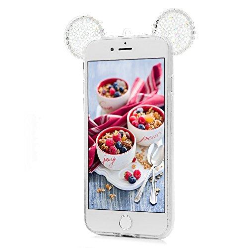 iPhone 7 Cover Silicone 3D Strass Bling Glitter Brillanti, iPhone 8 Custodia Morbida TPU Flessibile Gomma - MAXFE.CO Case Ultra Sottile Cassa Protettiva per iPhone 7 / iPhone 8 - Trasparente Trasparente