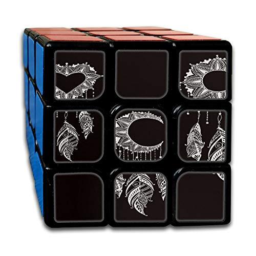 Custom 3x3 Small Speed Cube Los mejores juguetes de entrenamiento cerebral 3x3x3 Dibujado a mano Moon Sun Heart Mandala Dreamcatcher Set Speed Cubes 3x3 Party Game para niños niñas niños pequeños
