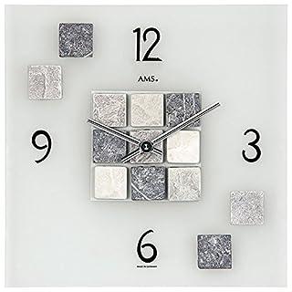 AMS Wanduhr 9276 Quarz satiniertes Mineralglas mit ausgewählten Natursteinen