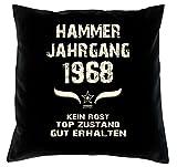 Geschenk 50 Geburtstag Geschenkidee Deko Kissen und Urkunde Jahrgang 1968 Farbe: schwarz
