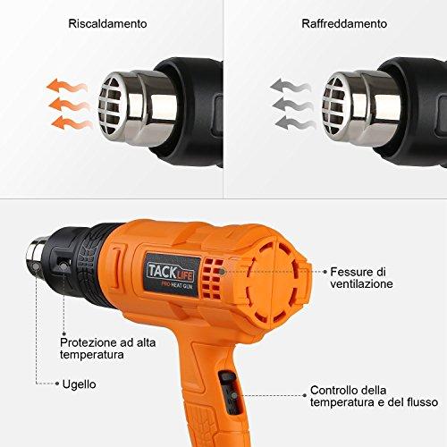 Tacklife HGP70AC Pistola Termica Professionale Sverniciatore da 1800W 230W 50HZ 3 livelli di Temperatura 50 ℃ (Aria Fredda) / 400 ℃ / 550 ℃