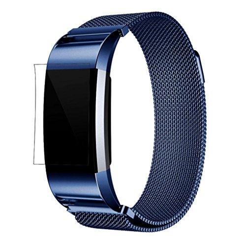 Fitbit Charge 2 Armband, OverDose Milanese Edelstahl Uhrenarmband-Bügel-Armband + HD Film für Fitbit Charge 2 (Blau-220mm+HD Film)