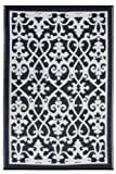 Fab Hab - Venice - Creme & Schwarz - Teppich/ Matte für den Innen- und Außenbereich (90 cm x 150 cm)