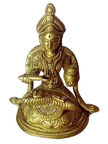 Statue der hinduistischen Göttin Annapurna Devi (Göttin der Nahrung) mit feinen Schnitzereien aus Messing Metall von Bharat Haat BH Roth