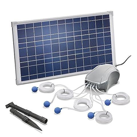 Solar Teichbelüfter 25W Solarmodul 5 x 120l/h Luftleistung 600l/h gesamt Gartenteich Sauerstoffpumpe esotec pro Komplettset (Brunnen Belüfter)