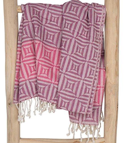 ZusenZomer Fouta Hamamtuch XXL Damen Square 100x200 Rosa - Hamam Badetuch Strandtuch Sauna Tuch 100% Baumwolle - Fair Trade Handgewebten Hammam Tücher