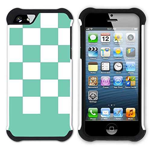Graphic4You Kariert Muster Design Hart + Weiche Kratzfeste Hülle Case Schale Tasche Schutzhülle für Apple iPhone SE / 5 / 5S (Lila) Aqua Blau