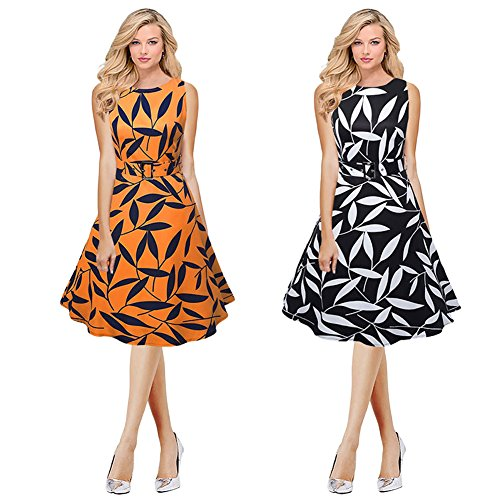 Damen Kleid Romacci drucken ärmel Kleid Vintage Partei Schwingen ...