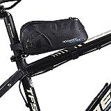 FlexDin Fahrradtasche Top Tube Bag (Vorne/Hinten Installation), Rahmentasche Wasserdicht und Leicht zu Reinigen, 1680D, 0.9L, Schwarz