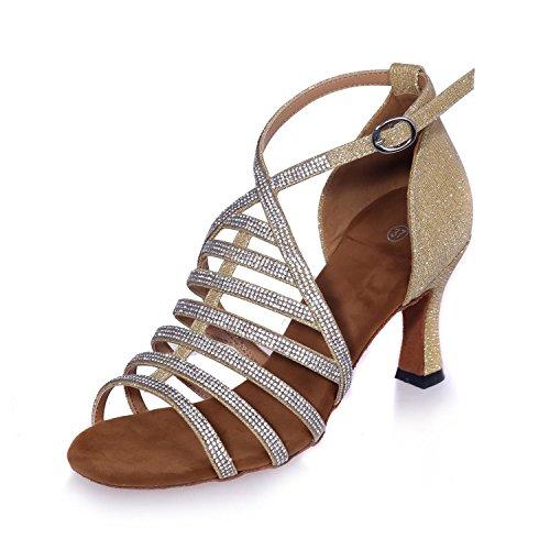 L@YC Donne ballo scarpe Latin / Ballroom satin fine vita con altezza tacco di 7,5 cm Gold