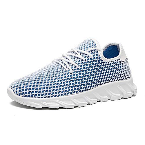 Casual Suede Shoe Sportschuhe für Männer Sportschuhe Schnürschuhe Mesh-Material Hohlgeflecht Textur Leichte, Flexible und atmungsaktive Schuhe Herren Sneaker (Color : Blau, Größe : 44 EU) - Mesh-suede Cap