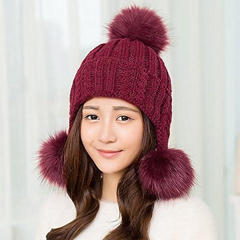 Dngy*Cappelli invernali bambini marea coreano bel maglione invernale Knit Hat caduta il panno privo di caldo tappo auricolare , Vino rosso