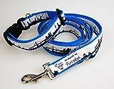 Twinkys Dog Style® Nylon Hunde Halsband Hamburg blau + verstellbare Leine Set versch. Größen (S 24cm-36cm)
