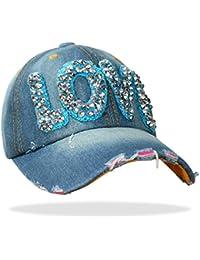 Damen Jeans Baseball Cap Mütze Kappe mit Strass LOVE Schriftzug und Glitzer - C021