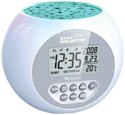Lifemax 384.1S Uhr mit Klangmaschine und Sternenprojektion, silberfarben